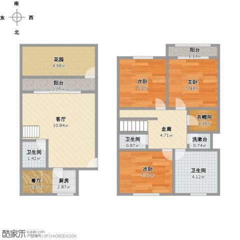 莲浦府邸别墅3室1厅3卫1厨72.00㎡户型图