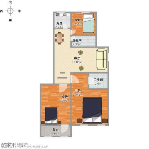 三箭吉祥苑3室1厅2卫1厨78.00㎡户型图