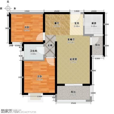 长兴・园湖曲2室2厅1卫0厨81.00㎡户型图