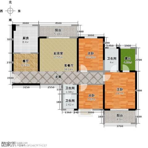 长兴・园湖曲3室2厅2卫0厨131.00㎡户型图