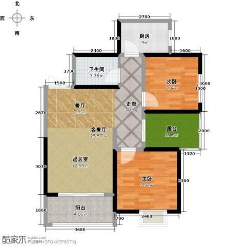 长兴・园湖曲2室2厅1卫0厨75.00㎡户型图