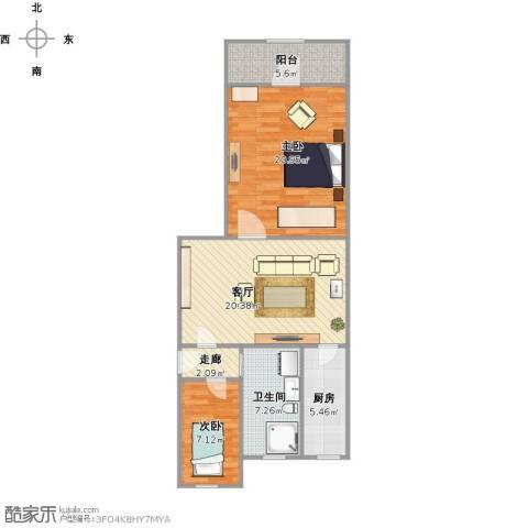 采荷青荷苑2室1厅1卫1厨93.00㎡户型图