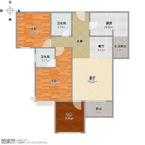 建发中央鹭洲3室1厅2卫1厨110.00㎡户型图