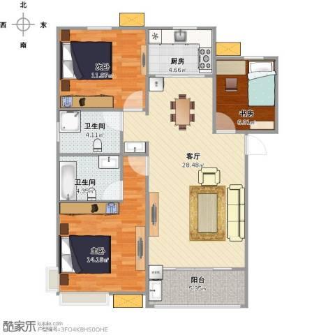 芳林新村3室1厅2卫1厨107.00㎡户型图