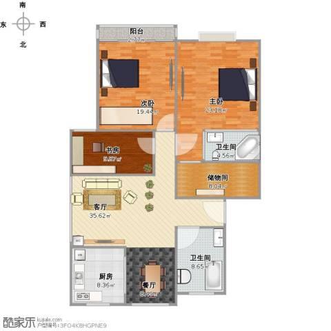 广景苑3室2厅2卫1厨161.00㎡户型图