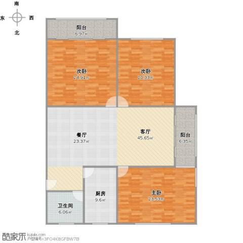 国地公寓3室1厅1卫1厨190.00㎡户型图