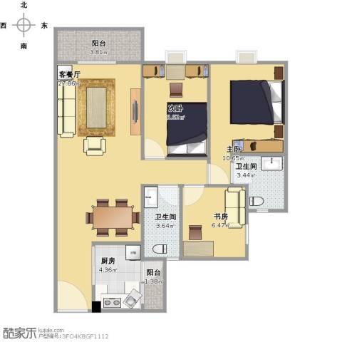 金都名苑(容桂)3室1厅2卫1厨96.00㎡户型图
