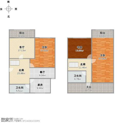 明珠苑3室1厅2卫1厨229.00㎡户型图