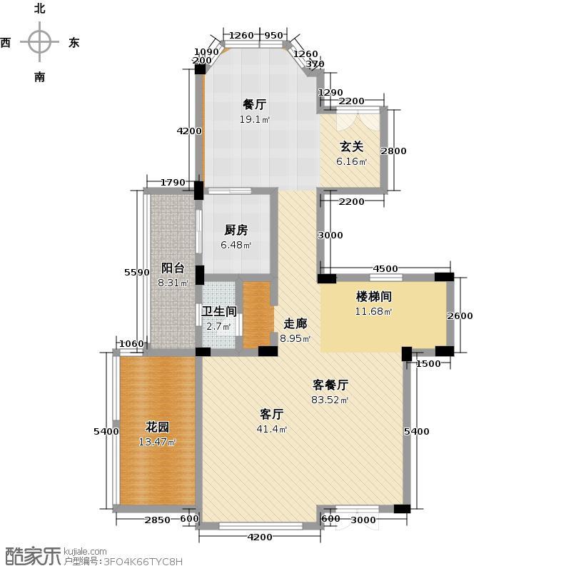 清河湾128.26㎡C1-2一层平面图户型10室