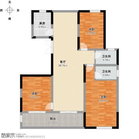 佳源名人公馆3室1厅2卫1厨153.00㎡户型图