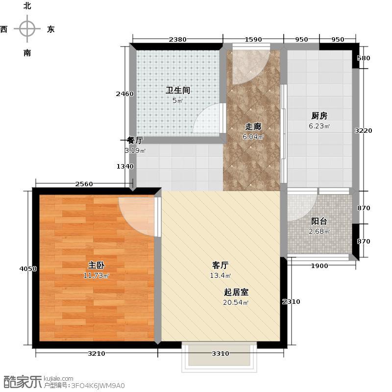 吉宝・汇锦城52.00㎡A3户型1室2厅1卫