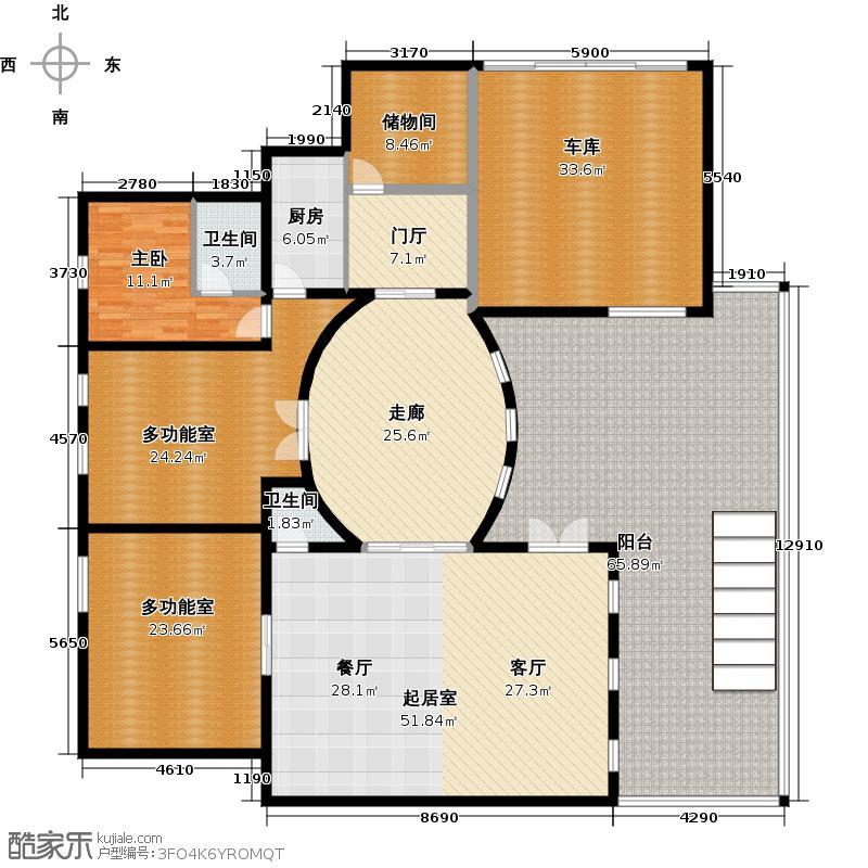 保亿丽景山288.95㎡独栋别墅地下一层户型10室