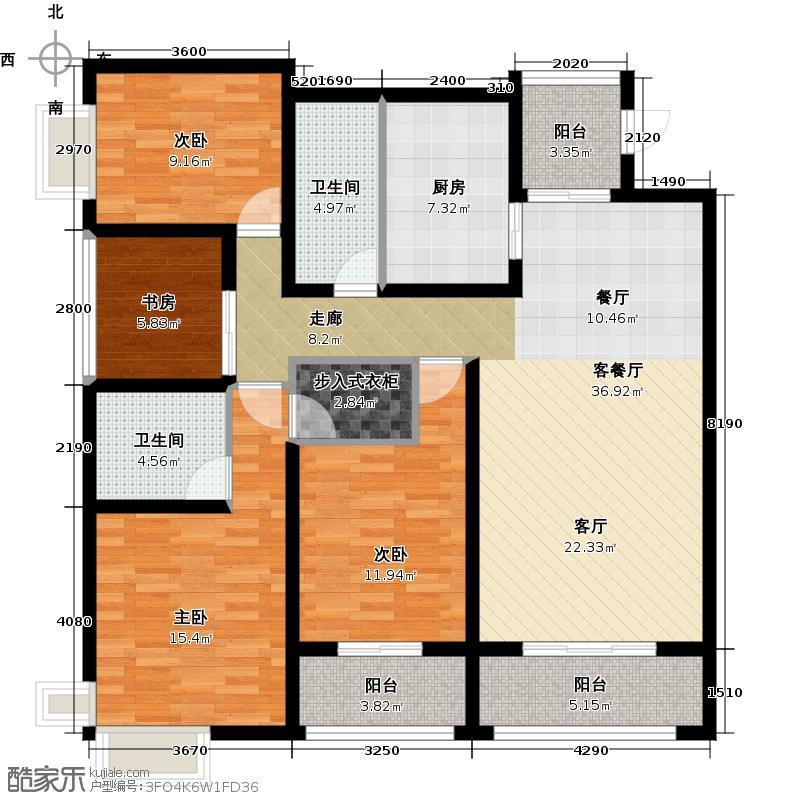 西府景苑二期133.67㎡F22阳台+入户花厅户型10室