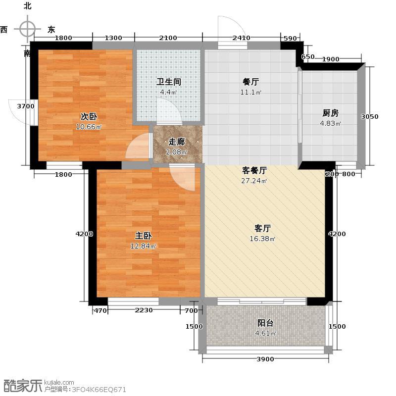 红星海世界观88.00㎡青屿蓝16#高层户型2室1厅1卫1厨