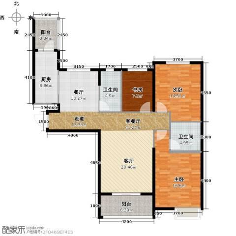 哈尔滨恒大绿洲3室2厅2卫0厨144.00㎡户型图