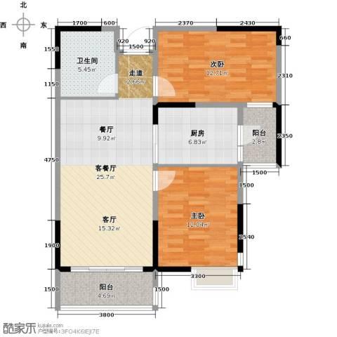 哈尔滨恒大绿洲2室2厅1卫0厨97.00㎡户型图