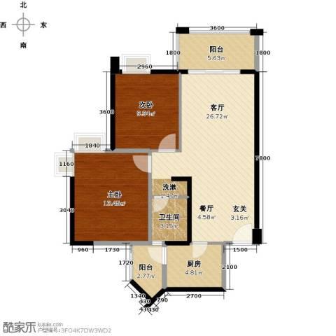 大信君汇湾2室2厅1卫0厨87.00㎡户型图