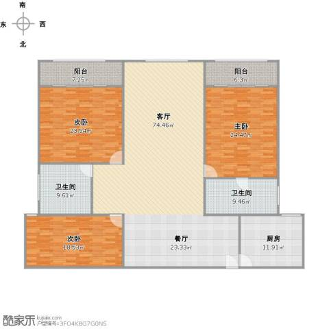 盛源大厦公寓3室1厅2卫1厨244.00㎡户型图