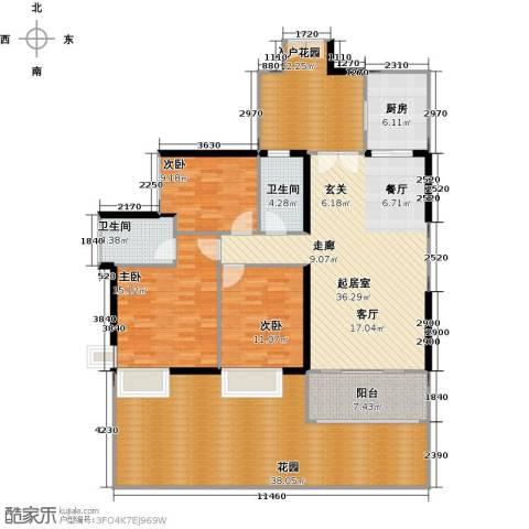 富力现代广场3室2厅2卫0厨144.15㎡户型图