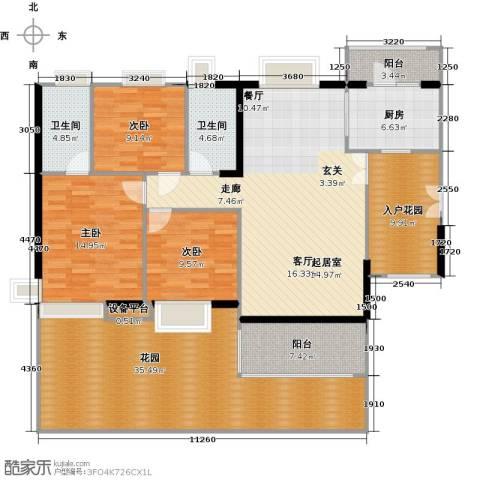 富力现代广场3室2厅2卫0厨141.55㎡户型图