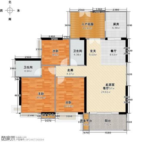 富力现代广场3室2厅2卫0厨134.00㎡户型图