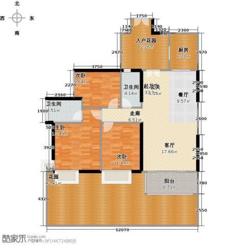 富力现代广场3室2厅2卫0厨150.25㎡户型图