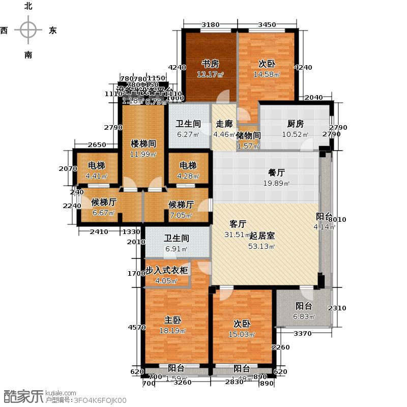 绿城西溪诚园193.00㎡F户型4室2厅2卫