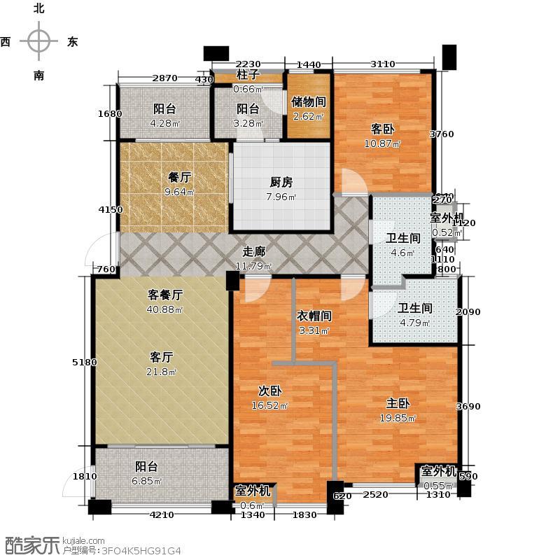 九龙仓御园166.00㎡B双卫户型3室2厅2卫