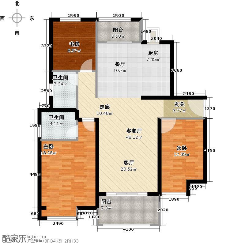 中海曲江碧林湾137.00㎡户型3室1厅2卫