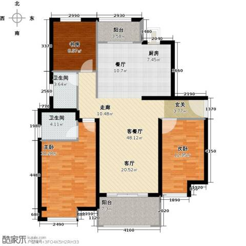 中海曲江碧林湾3室1厅2卫0厨137.00㎡户型图