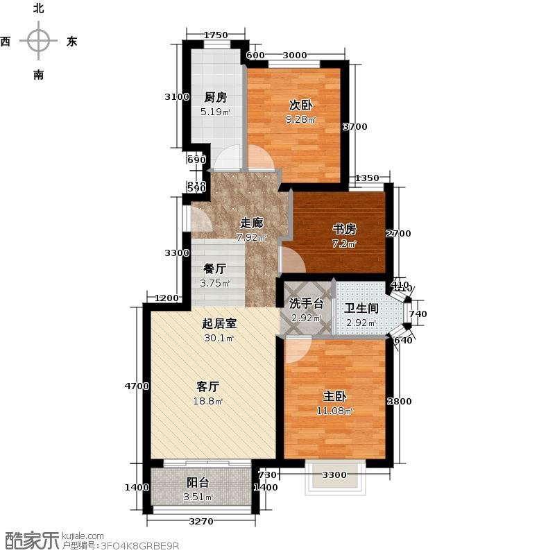 首尔甜城MOBO国际中心79.15㎡洋房户型3室2厅1卫