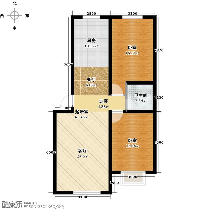 和润新城87.54㎡16#-21#户型2室2厅1卫
