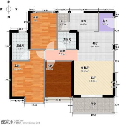 银诚东方国际3室2厅2卫0厨96.00㎡户型图