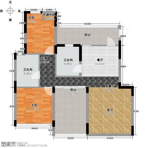 汇置尚都2室2厅1卫0厨102.00㎡户型图
