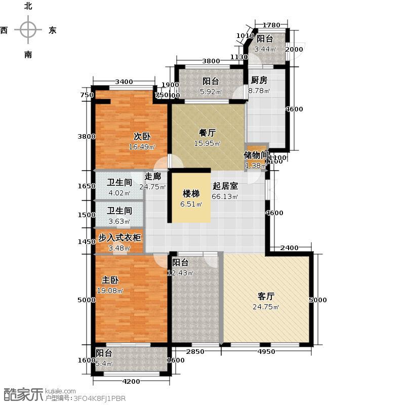 中海紫御公馆283.15㎡1号楼c1复式跃层上层户型10室