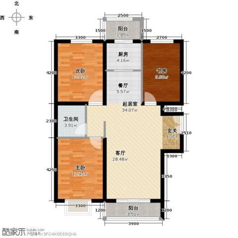 世纪龙庭二期3室2厅1卫0厨120.00㎡户型图
