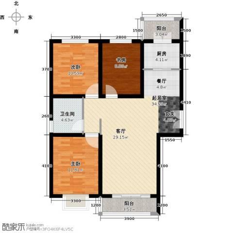 世纪龙庭二期3室2厅1卫0厨119.00㎡户型图