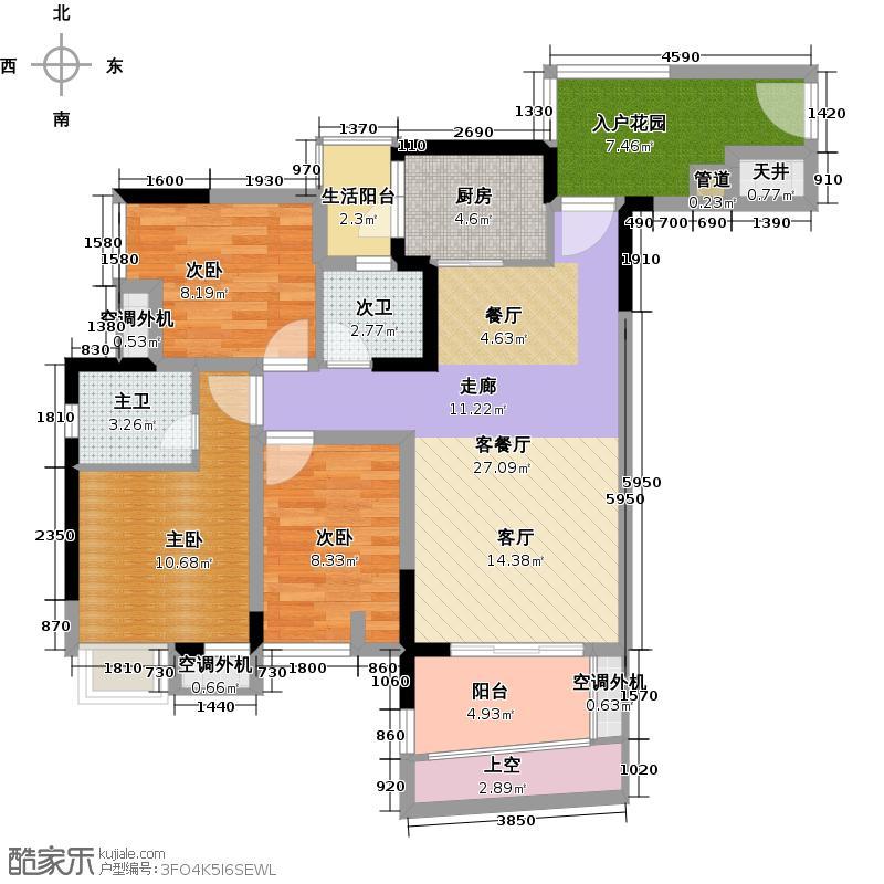 联发嘉园83.63㎡双卫户型3室1厅1厨