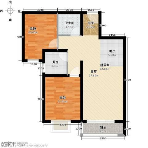 世纪龙庭二期2室2厅1卫0厨90.00㎡户型图