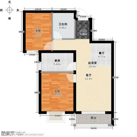 世纪龙庭二期2室2厅1卫0厨87.00㎡户型图
