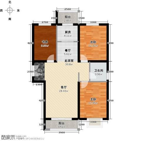 世纪龙庭二期3室2厅1卫0厨121.00㎡户型图