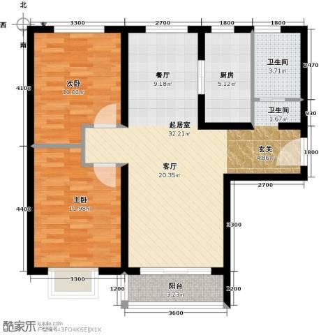 世纪龙庭二期2室2厅1卫0厨99.00㎡户型图