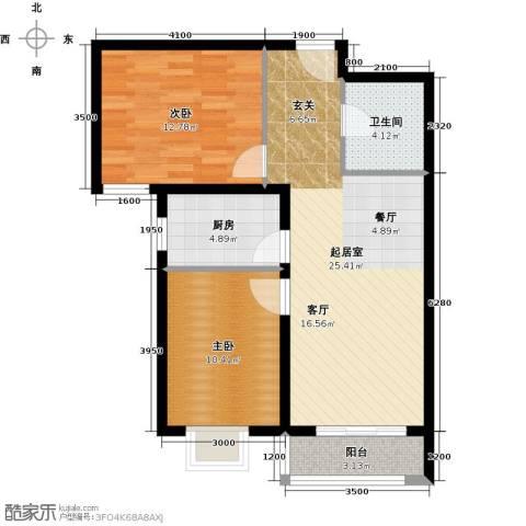 世纪龙庭二期2室2厅1卫0厨89.00㎡户型图