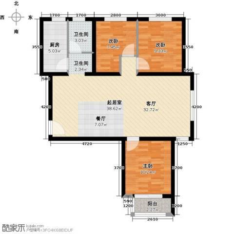 世纪龙庭二期3室2厅1卫0厨109.00㎡户型图