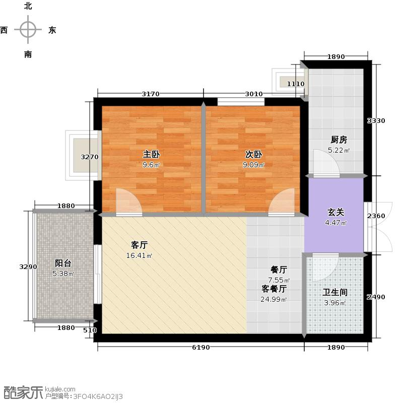 中环国际城63.47㎡2号楼C户型2室2厅1卫