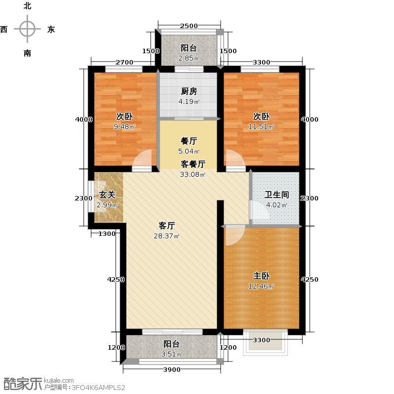 世纪龙庭二期118.00㎡N2户型3室2厅1卫