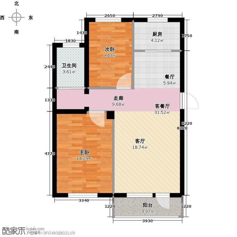 金城帝景86.00㎡户型2室2厅1卫