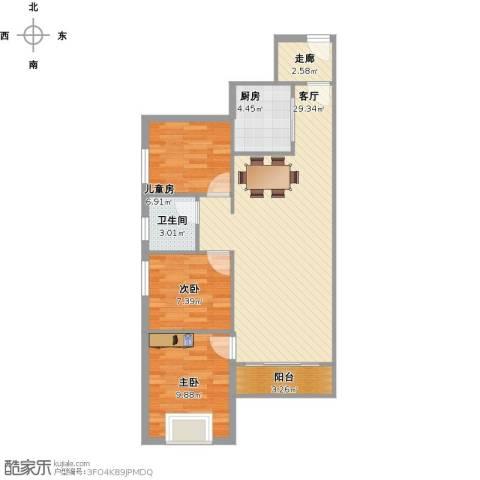 万科金色家园3室1厅1卫1厨93.00㎡户型图