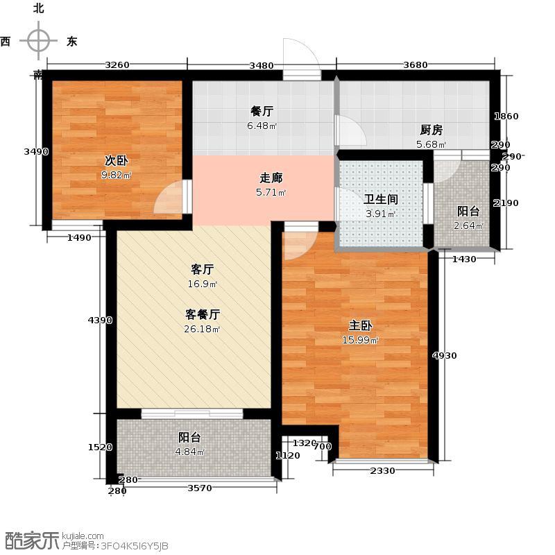 佰仕苑88.00㎡户型2室1厅1卫1厨