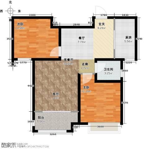 中国铁建・明山秀水2室2厅1卫0厨86.00㎡户型图
